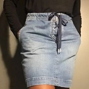 Loft Tie Front Boho Denim Skirt 10